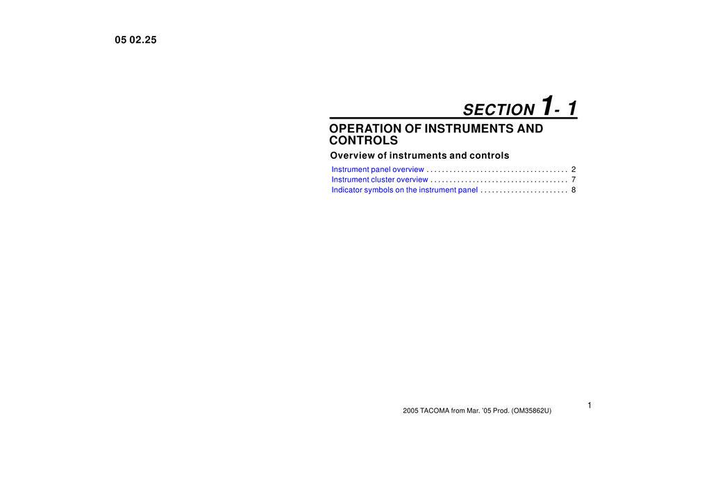 2005 Toyota Tacoma owners manual