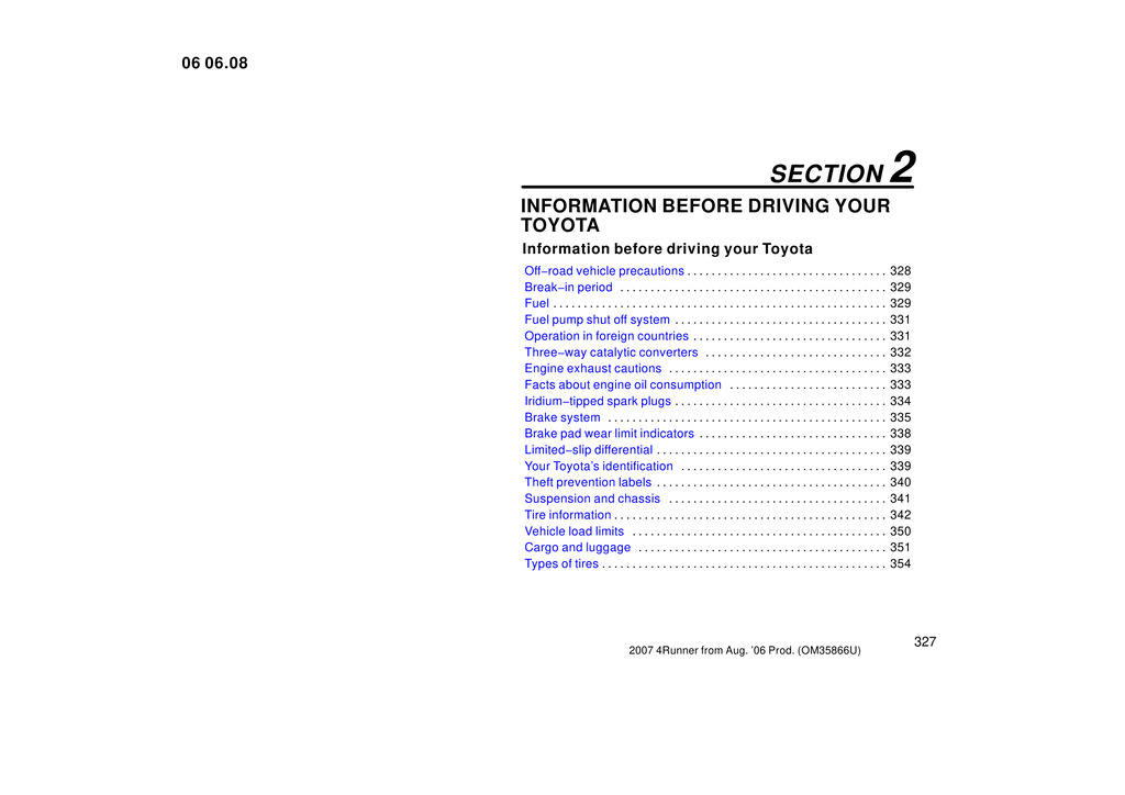 2007 Toyota 4runner owners manual