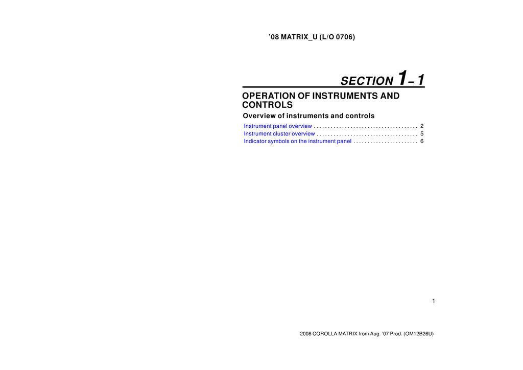 2008 Toyota Matrix owners manual