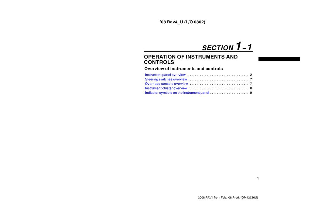 2008 Toyota Rav4 owners manual