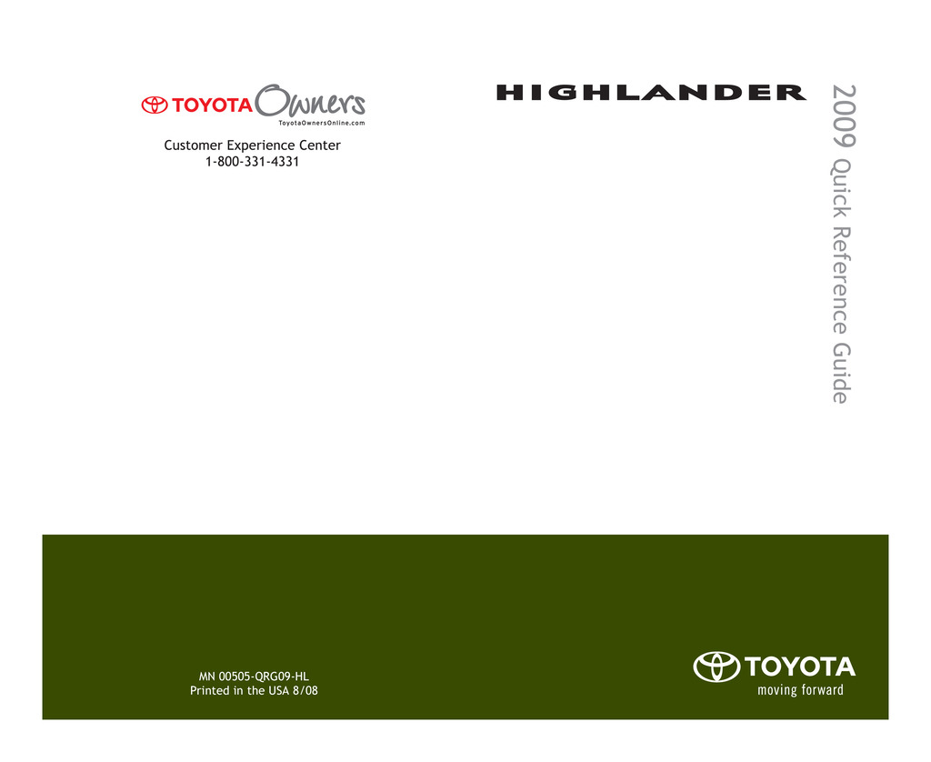 2009 Toyota Highlander owners manual