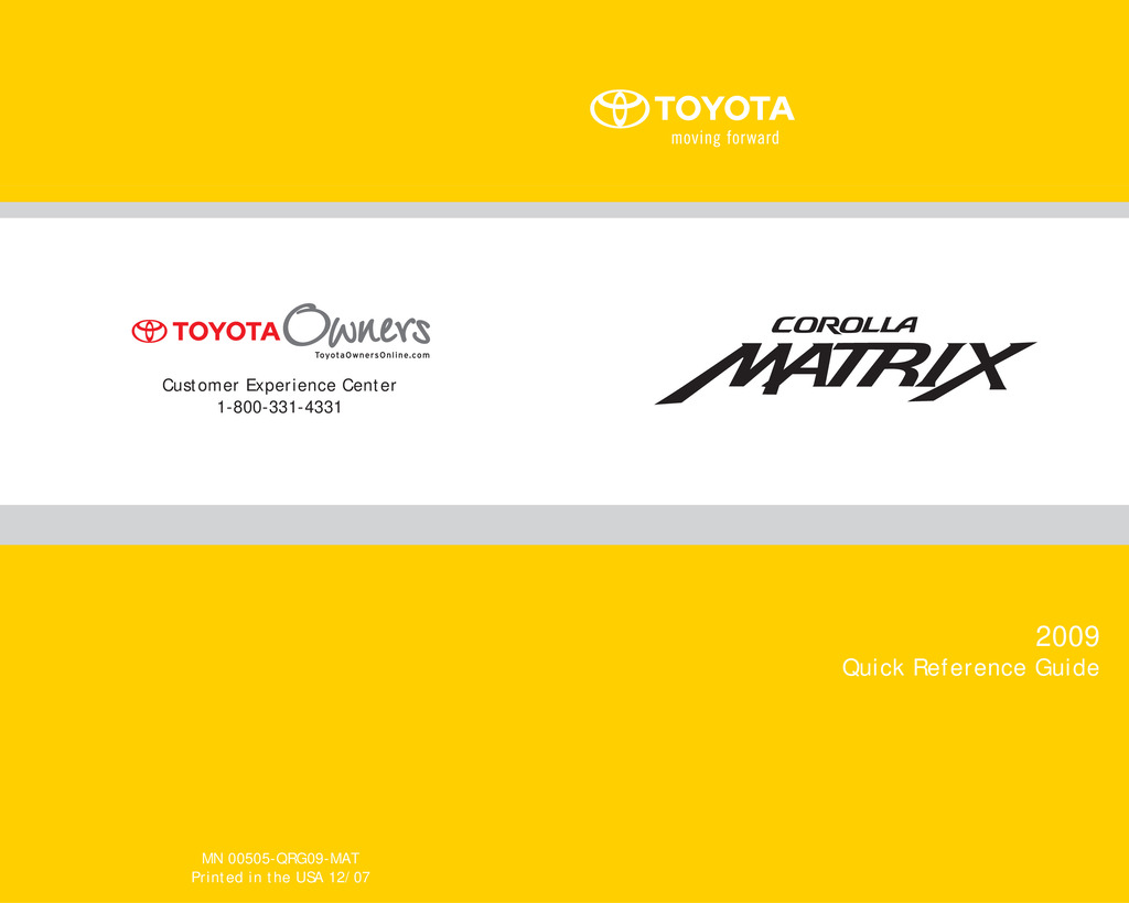 2009 Toyota Matrix owners manual