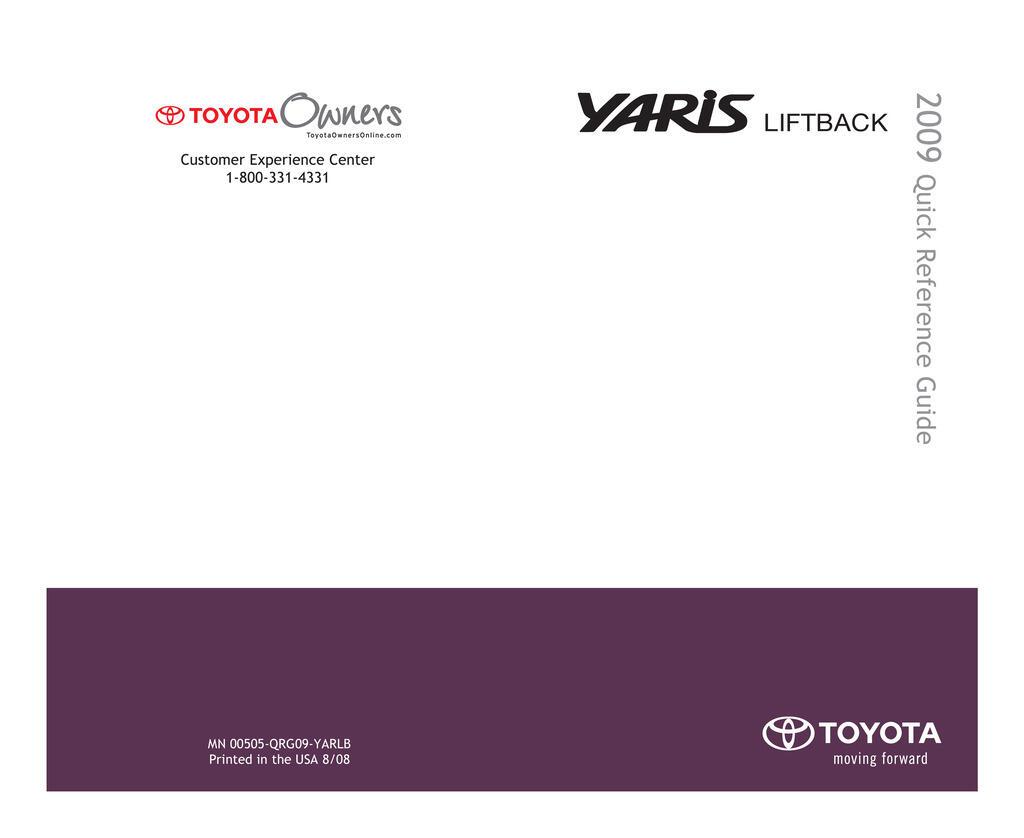 2009 Toyota Yaris Hatchback owners manual