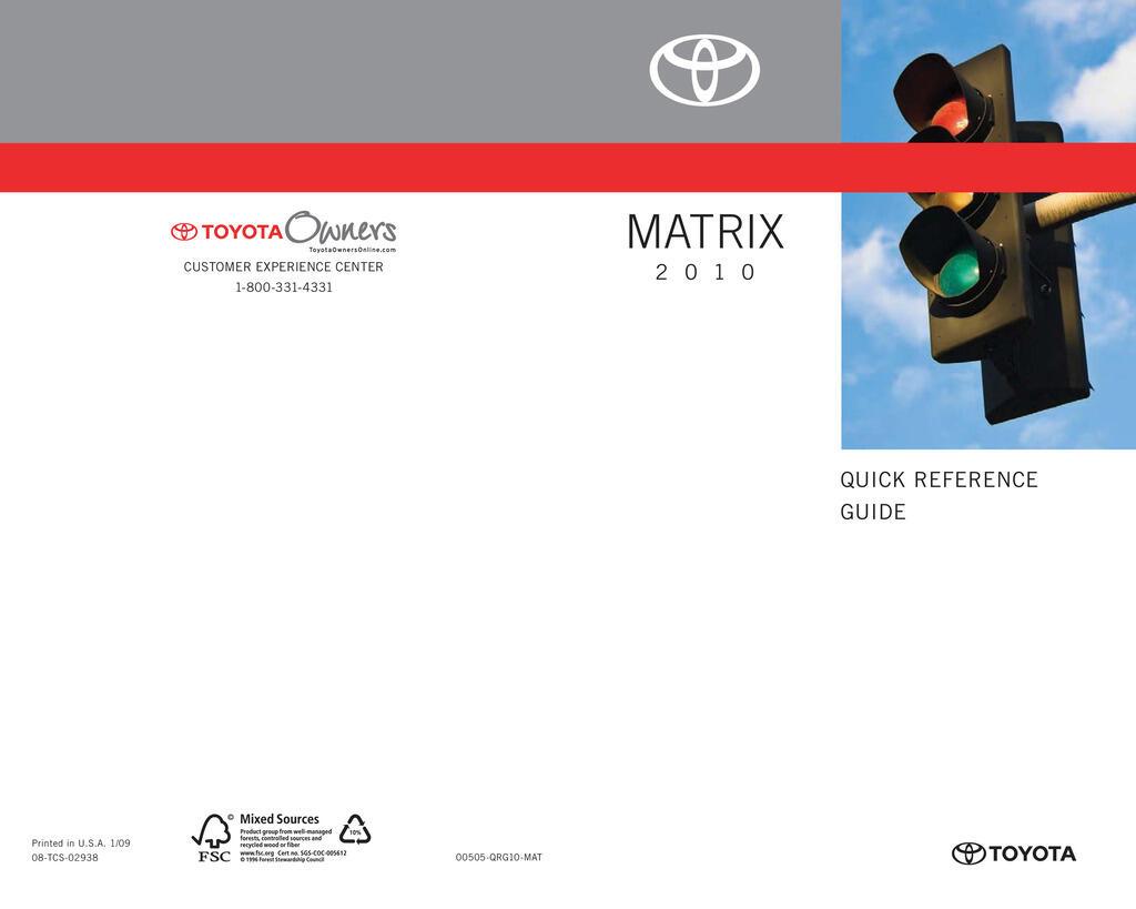 2010 Toyota Matrix owners manual
