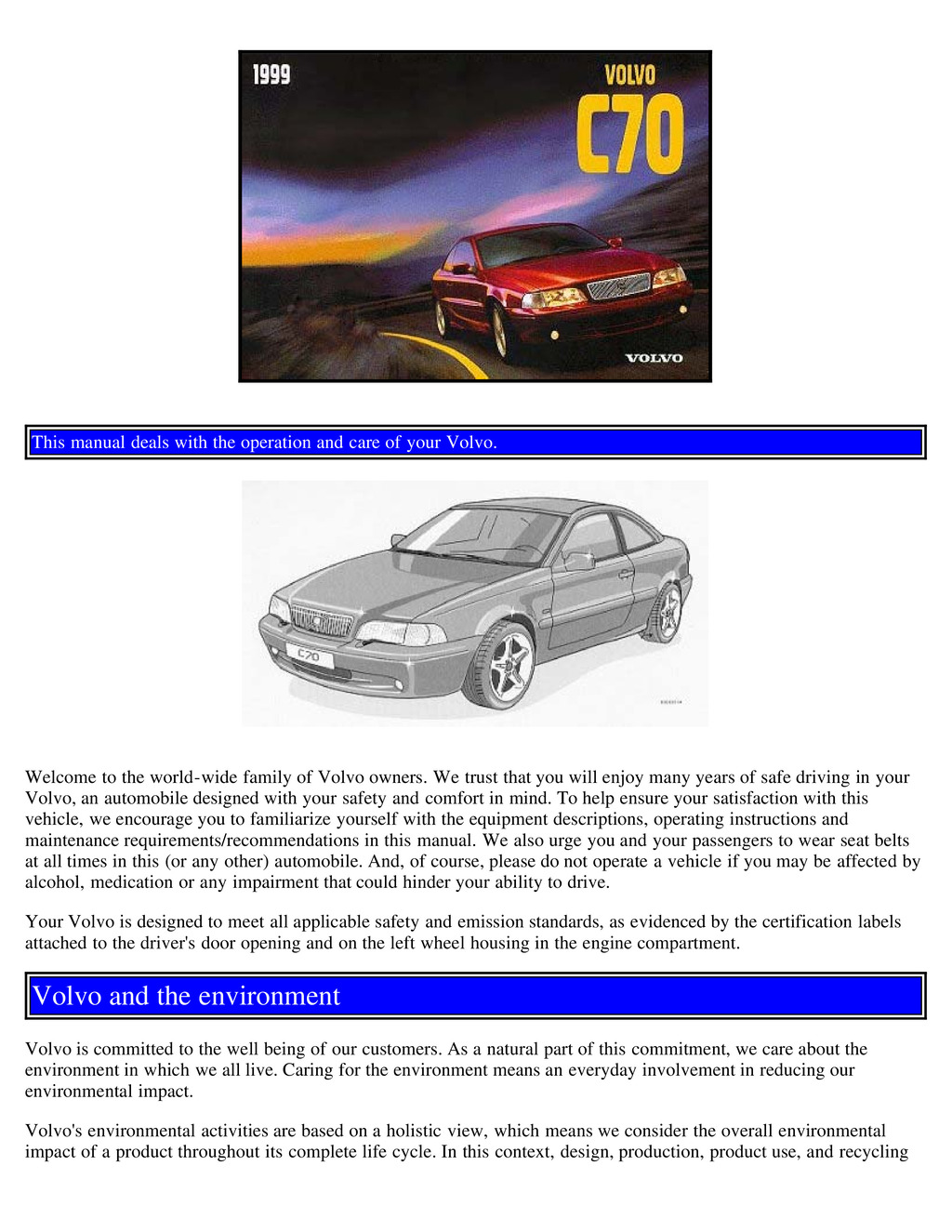 1999 Volvo C70 owners manual