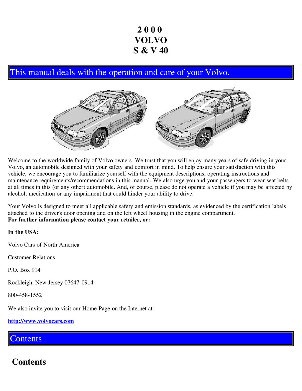 2000 Volvo S40 V40 owners manual