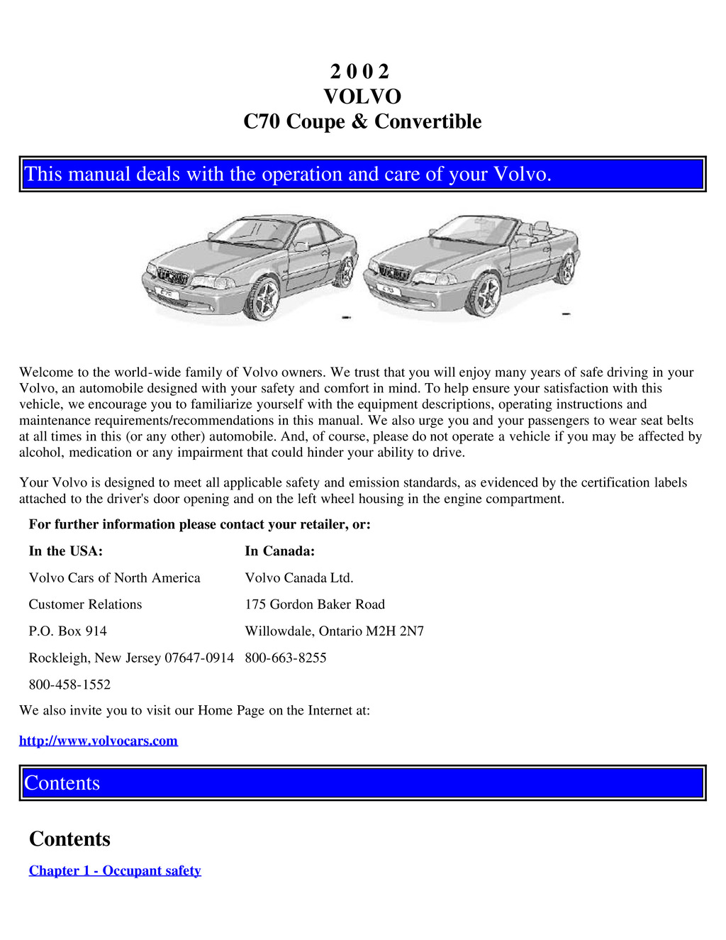 2002 Volvo C70 owners manual