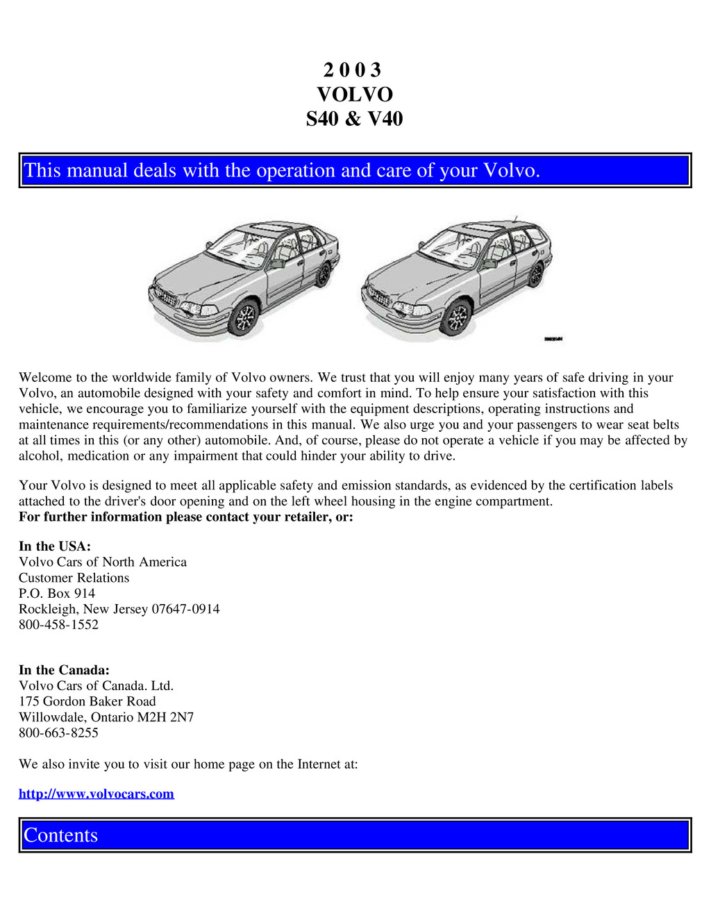 2003 Volvo S40 V40 owners manual