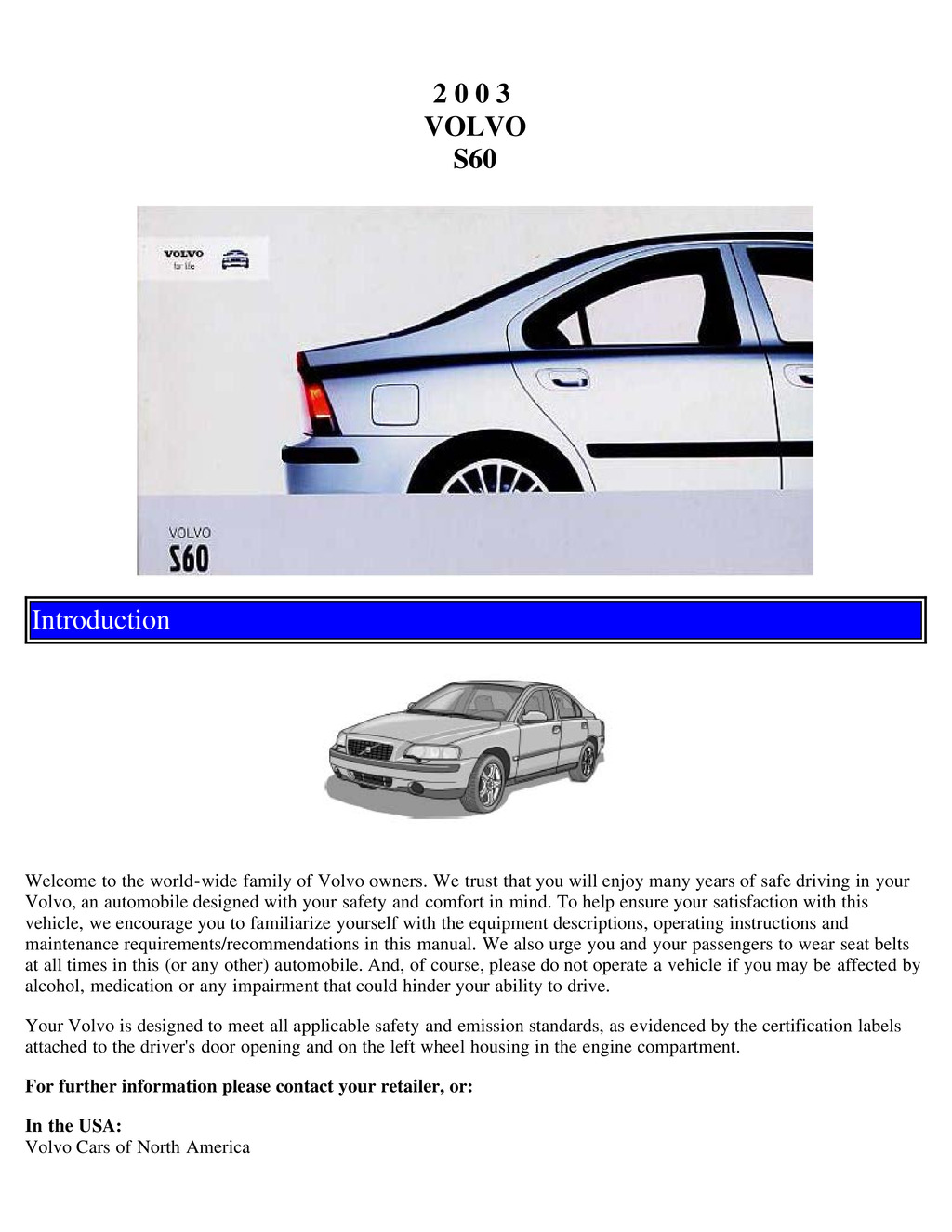2003 Volvo S60 owners manual