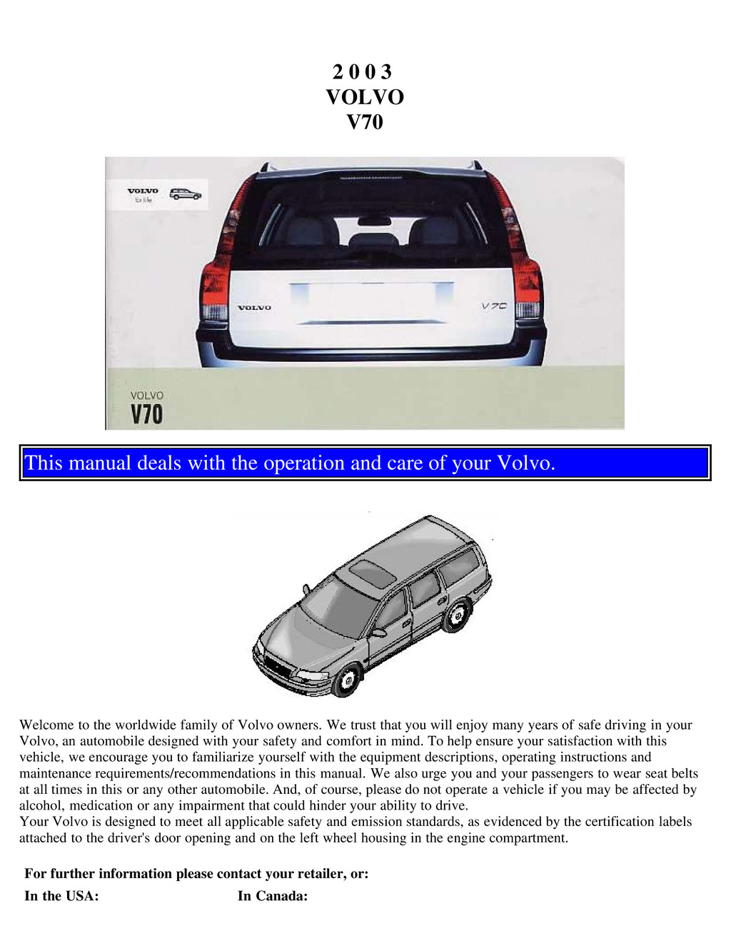 2003 Volvo V70 owners manual