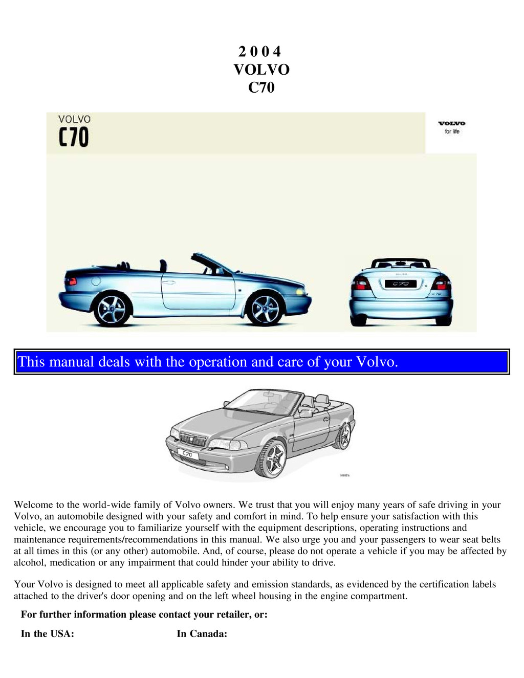 2004 Volvo C70 owners manual