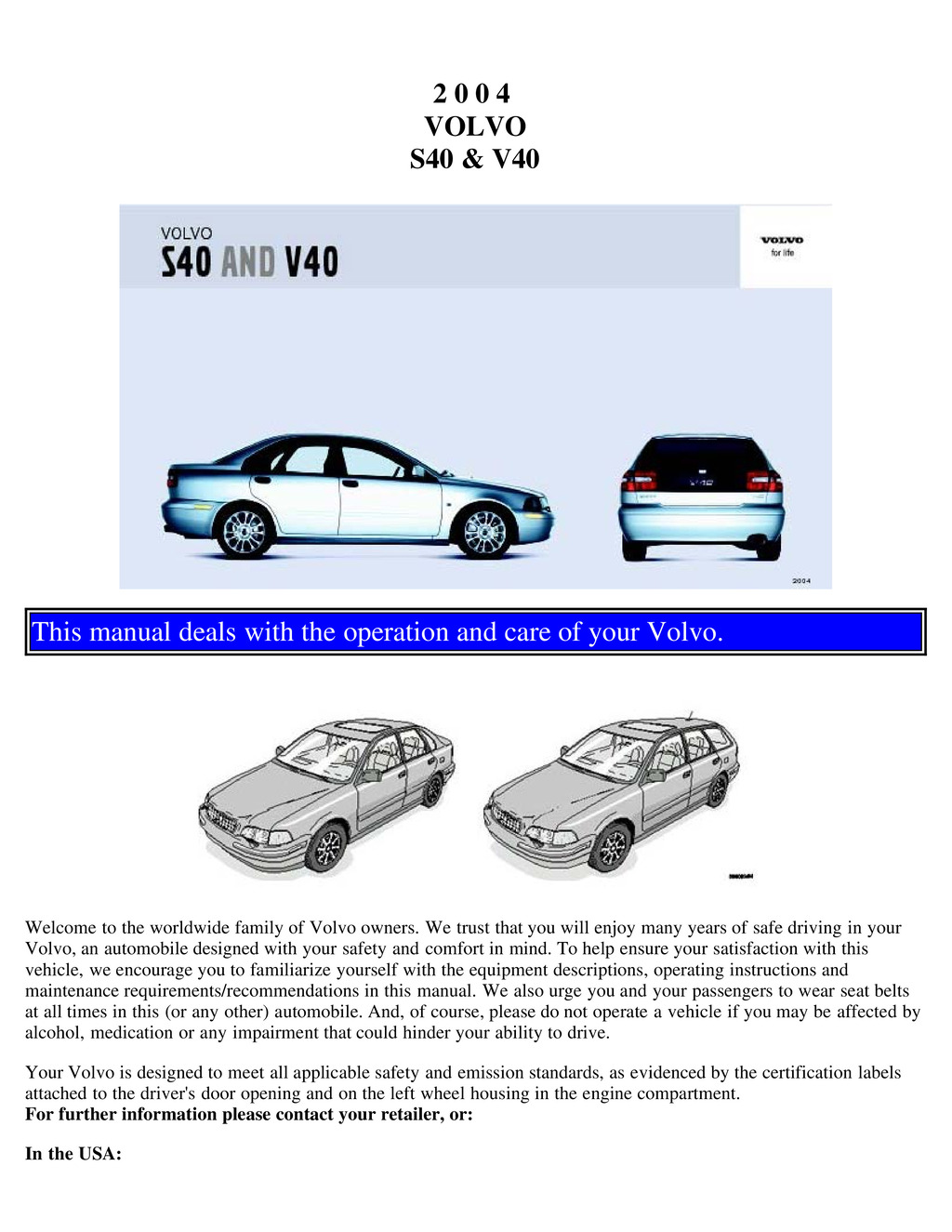 2004 Volvo S40 V40 owners manual