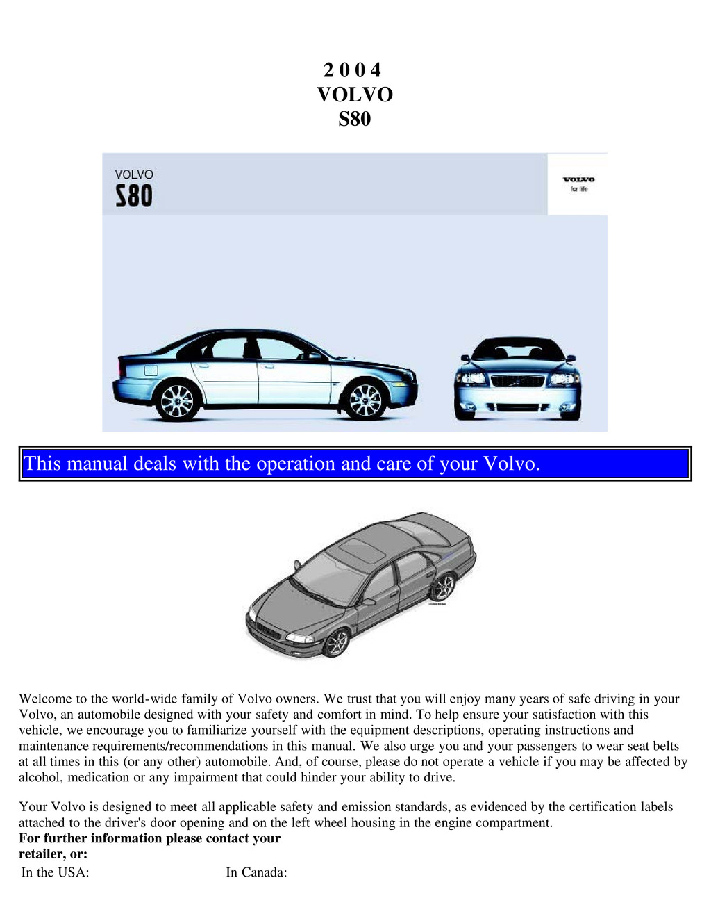 2004 Volvo S80 owners manual