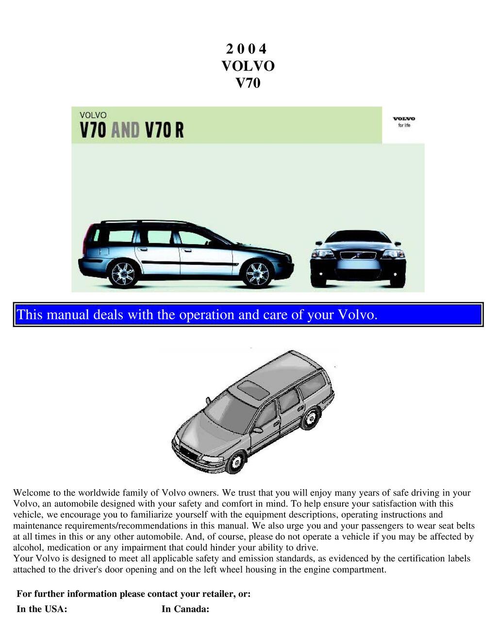 2004 Volvo V70 V70r owners manual