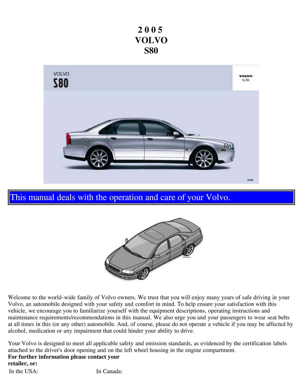 2005 Volvo S80 owners manual