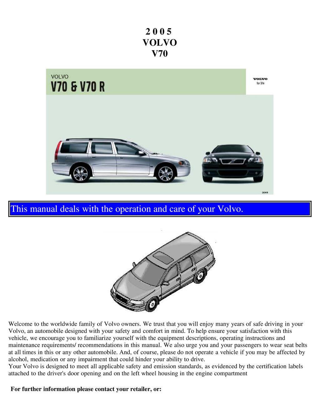 2005 Volvo V70 V70r owners manual