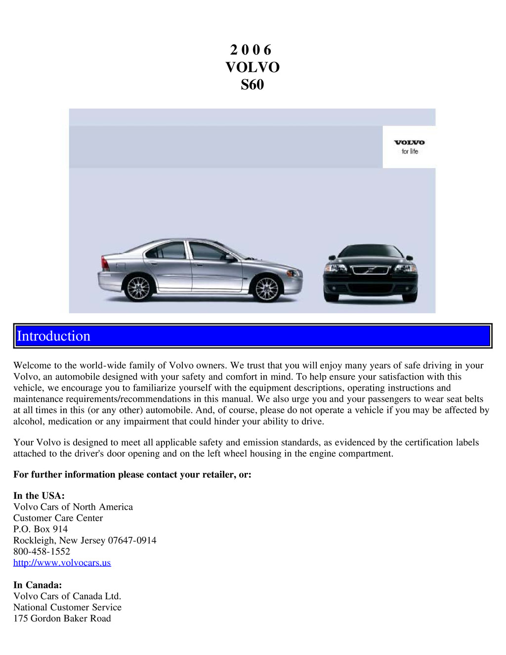 2006 Volvo S60 owners manual