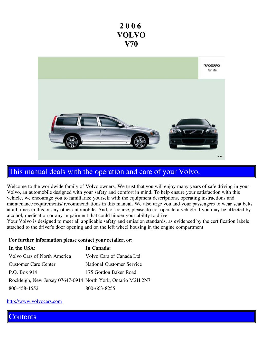 2006 Volvo V70 owners manual