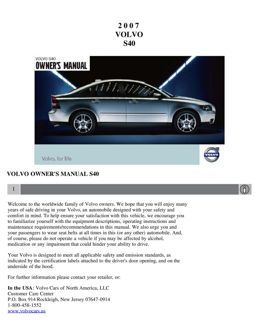 2007 Volvo S40 owners manual