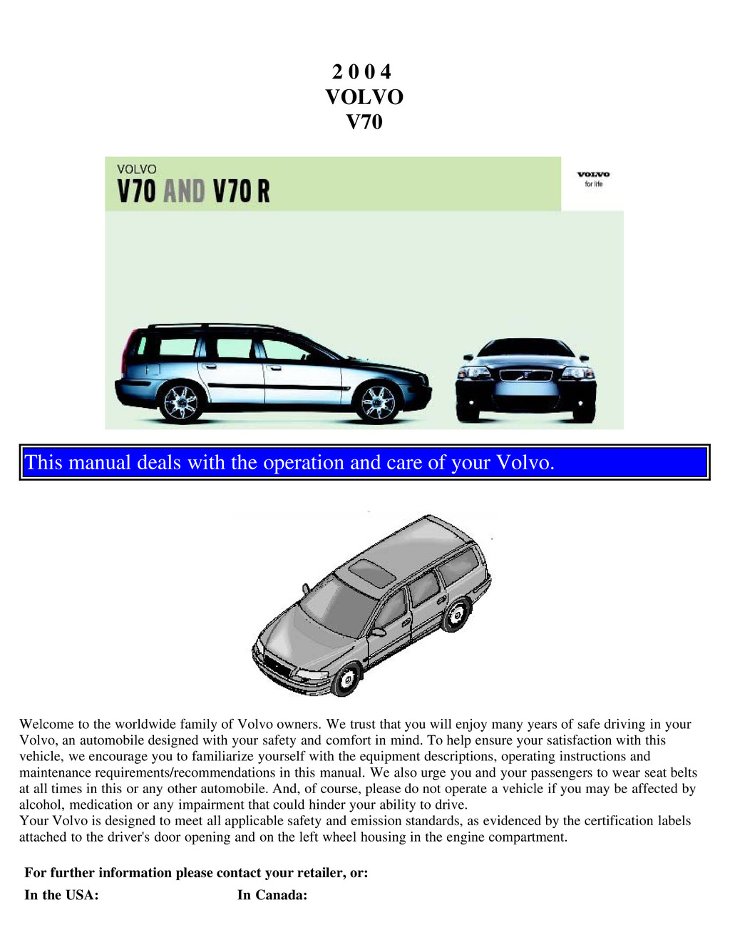 2007 Volvo V70 owners manual