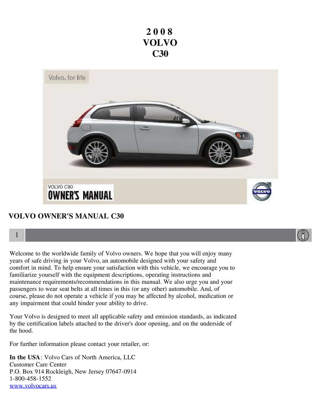 2008 Volvo C30 owners manual
