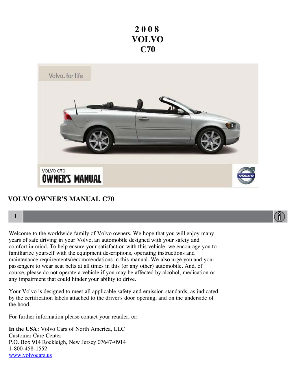 2008 Volvo C70 owners manual